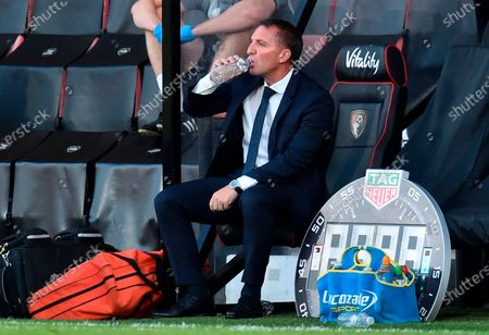 Manager of Leicester Brendan Rodgers drinks water during the English Premier League match between AFC Bournemouth and Leicester City in Bournemouth, Britain, 12 July 2020.