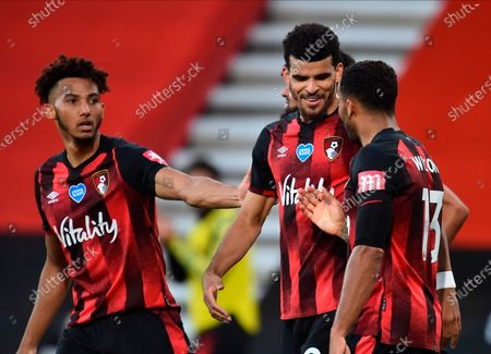 Bournemouth's Dominic Solanke (C) celebrates with teammmates after scoring for a 4-1 lead past Leicester during the English Premier League match between AFC Bournemouth and Leicester City in Bournemouth, Britain, 12 July 2020.