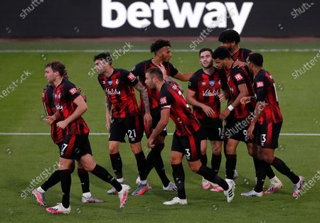 Bournemouth's Dominic Solanke celebrates with teammates after scoring for a 4-1 lead past Leicester during the English Premier League match between AFC Bournemouth and Leicester City in Bournemouth, Britain, 12 July 2020.