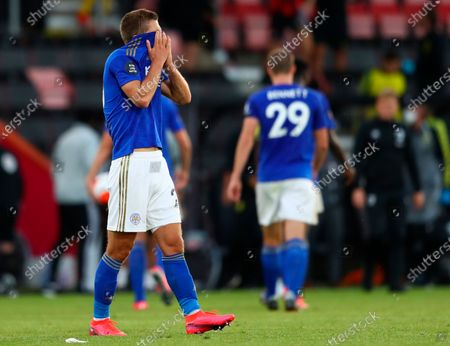 Leicester's Dennis Praet looks dejected after the English Premier League match between AFC Bournemouth and Leicester City in Bournemouth, Britain, 12 July 2020.