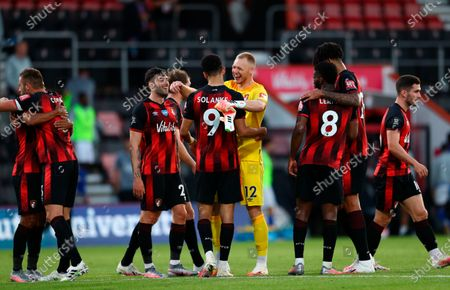 Bournemouth players celebrate after the English Premier League match between AFC Bournemouth and Leicester City in Bournemouth, Britain, 12 July 2020.