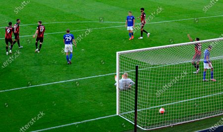 Bournemouth players celebrate their team's third goal, an own goal by Leicester, during the English Premier League match between AFC Bournemouth and Leicester City in Bournemouth, Britain, 12 July 2020.