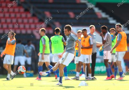 Leicester's Jamie Vardy in action during the warm-up before the English Premier League match between AFC Bournemouth and Leicester City in Bournemouth, Britain, 12 July 2020.