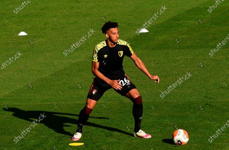 Bournemouth's Lloyd Kelly in action during the warm-up before the English Premier League match between AFC Bournemouth and Leicester City in Bournemouth, Britain, 12 July 2020.