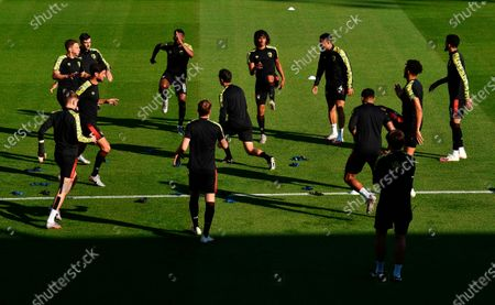 Bournemouth players in action during the warm-up before the English Premier League match between AFC Bournemouth and Leicester City in Bournemouth, Britain, 12 July 2020.
