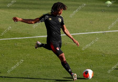Bournemouth's Nathan Ake in action during the warm-up before the English Premier League match between AFC Bournemouth and Leicester City in Bournemouth, Britain, 12 July 2020.