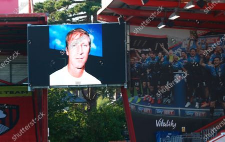 Former English international Jack Charlton is remembered before the English Premier League match between AFC Bournemouth and Leicester City in Bournemouth, Britain, 12 July 2020.