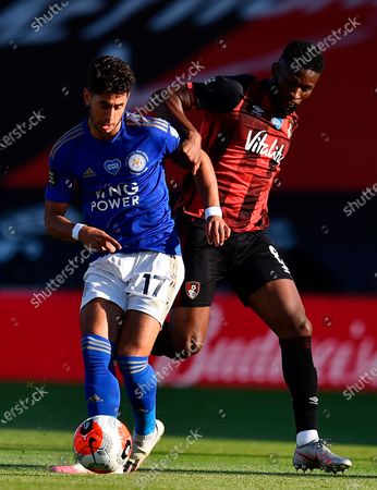 Leicester's Ayoze Perez (L) in action against Bournemouth's Jefferson Lerma (R) during the English Premier League match between AFC Bournemouth and Leicester City in Bournemouth, Britain, 12 July 2020.