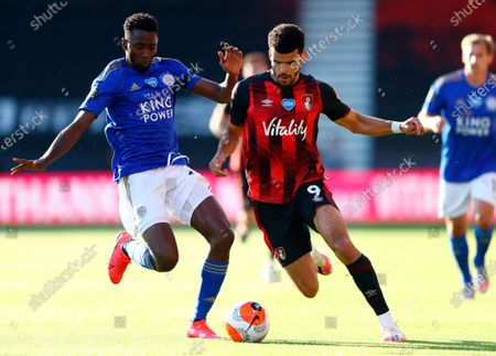 Bournemouth's Dominic Solanke (R) in action against Leicester's Wilfred Ndidi (L) during the English Premier League match between AFC Bournemouth and Leicester City in Bournemouth, Britain, 12 July 2020.
