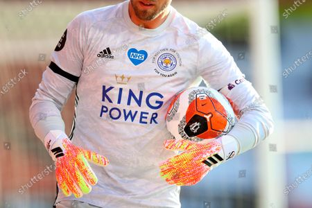 The logo of the National Health Service (NHS) is seen on the jersey of Leicester goalkeeper Kasper Schmeichel during the English Premier League soccer match between AFC Bournemouth and Leicester City in Bournemouth, Britain, 12 July 2020.
