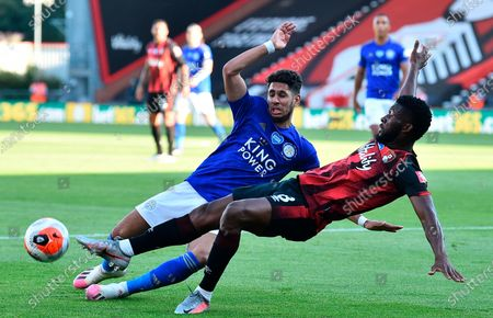 Bournemouth's Jefferson Lerma (R) in action against Leicester's Ayoze Perez (L) during the English Premier League match between AFC Bournemouth and Leicester City in Bournemouth, Britain, 12 July 2020.