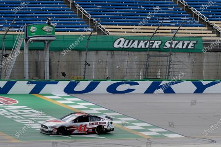 Cole Custer (41) wins a NASCAR Cup Series auto race, in Sparta, Ky
