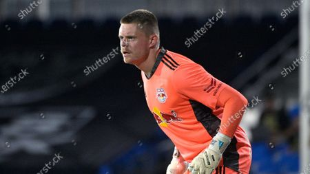 New York Red Bulls goalkeeper David Jensen (1) tracks a ball during an MLS soccer match against the Atlanta United, in Kissimmee, Fla