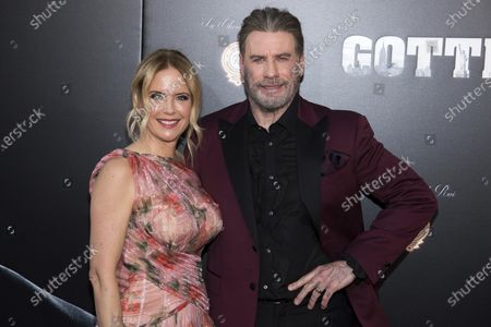 "Stock Photo of Kelly Preston and John Travolta attend the premiere of ""Gotti"" at the SVA Theatre in New York. Preston, whose credits included the films ""Twins"" and ""Jerry Maguire,"" died, her husband Travolta said. She was 57"