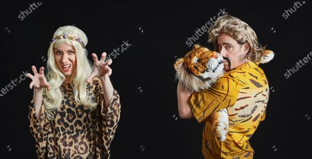 Illustration libre de droits de Rachel Parris and Stephen Mangan as Carole Baskin and Joe Exotic - The Tiger King