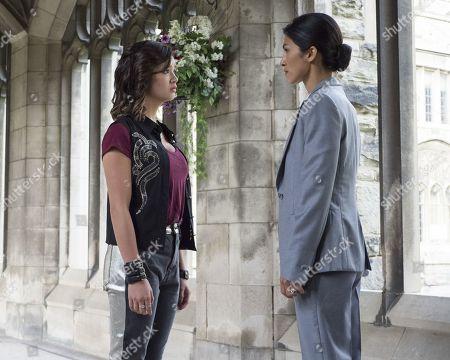 Peyton Elizabeth Lee as Sam and Elodie Yung as Queen Catherine
