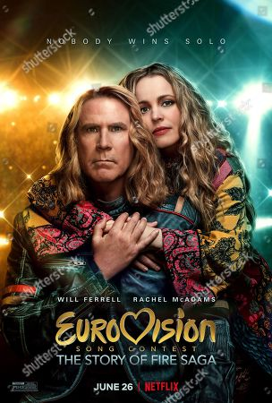 Eurovision Song Contest: The Story of Fire Saga (2020) Poster Art. Will Ferrell as Lars Erickssong and Rachel McAdams as Sigrit Ericksdottir