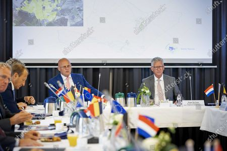 Dutch Minister of Justice and Security Ferdinand Grapperhaus (L) and Belgian Minister of Security and Home Affairs Pieter de Crem (R) at the start of a consultation in the town hall between the Netherlands and Belgium about the measures in the border region that should help stop the spread of the coronavirus, Baarle-Nassau, the Netherlands, 13 July 2020.