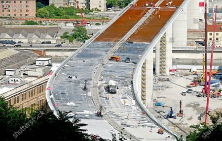 New Genoa motorway bridge construction site