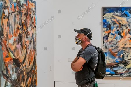 Stock Photo of Works by Cecily Brown inclThe Last Shipwreck, 2018, in Radical Figures - Whitechapel Gallery reopens to the public on 14 July 2020 (after the easing of Coronavirus, covid 19, lockdown restrictions) with new Health & Safety measures in place to prioritise the welfare of staff and visitors. The spring exhibition programme, including Radical Figures: Painting in the New Millennium will be extended through the summer. In line with guidance from Public Health England, the gallery has put the following measures in place, ensuring the exhibitions and displays can be enjoyed in a safe and accessible way - Timed entry will be in place so visitors must book in advance via the online booking system; There will be one entrance and one exit to allow one-way systems around the gallery; Visitors will be encouraged to respect social distancing with floor markings and to wear gloves and face masks when in the building; Front of house staff will wear Personal Protective Equipment (PPE); Hand sanitisers will be situated around the building and regular additional cleaning will take place throughout the building.