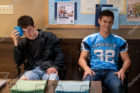 Dylan Minnette as Clay Jensen and Timothy Granaderos as Montgomery de la Cruz