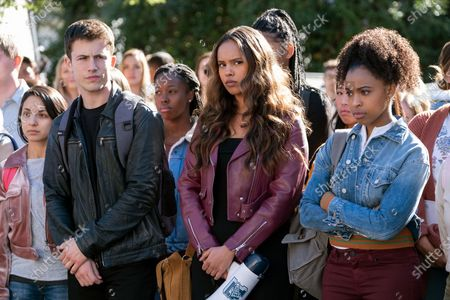 Stock Picture of Dylan Minnette as Clay Jensen, Alisha Boe as Jessica Davis and Grace Saif as Ani Achola