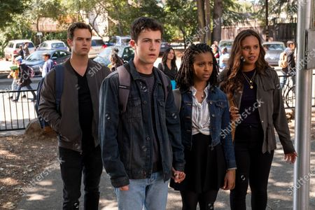 Brandon Flynn as Justin Foley, Dylan Minnette as Clay Jensen, Grace Saif as Ani Achola and Alisha Boe as Jessica Davis