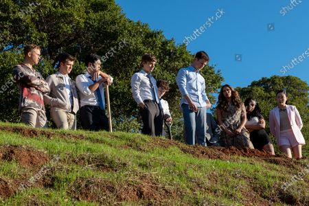 Stock Photo of Tommy Dorfman as Ryan Shaver, Tyler Barnhardt as Charlie St. George, Ross Butler as Zach Dempsey, Miles Heizer as Alex Standall, Devin Druid as Tyler Down, Dylan Minnette as Clay Jensen, Alisha Boe as Jessica Davis, Grace Saif as Ani Achola and Michele Selene Ang as Courtney Crimsen