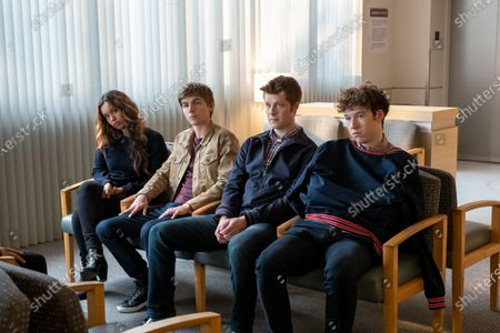 Stock Image of Alisha Boe as Jessica Davis, Miles Heizer as Alex Standall, Tyler Barnhardt as Charlie St. George and Devin Druid as Tyler Down