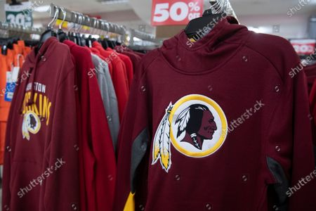 Washington Redskins merchandise for sale at a store in Arlington, Virginia, USA, 13 July 2020. The National Football League's Washington Redskins will change the Redskins name and logo, the team announced in a statement on 13 July 2020. The new name has not been announced. The Redskins name has been criticized as an offensive ethnic slur.