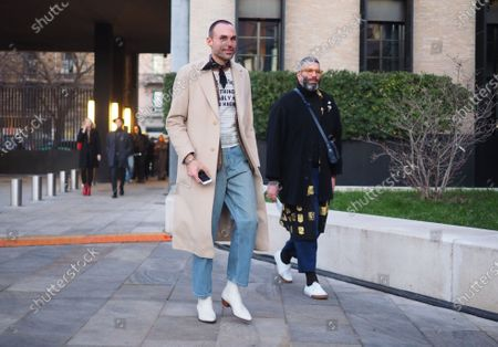 Stock Image of MILANO, Italy: 11 January 2020: Fashion bloggers street style outfits before Neil Barrett fashion show during Milano Fashion Week man 2020