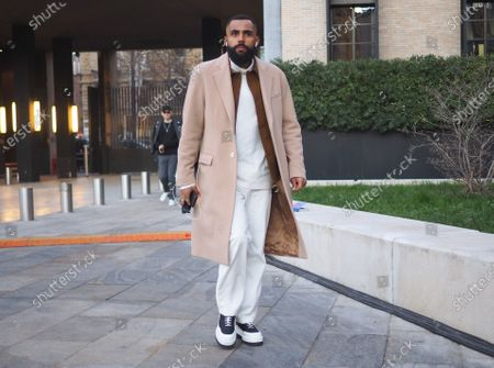 Stock Photo of MILANO, Italy: 11 January 2020: Fashion bloggers street style outfits before Neil Barrett fashion show during Milano Fashion Week man 2020