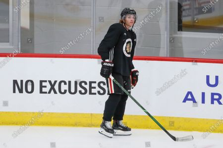 Chicago Blackhawks right wing Patrick Kane skates during NHL hockey practice at Fifth Third Arena, in Chicago