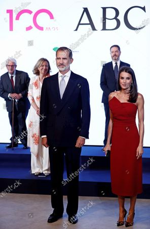 Spain's King Felipe VI (front-L) and Queen Letizia (front-R) chairs the Mariano de Cavia, Luca de Tena and Mingote Awards gala in Madrid, Spain, 13 July 2020. Writers and journalists Maruja Torres and Arturo Perez-Reverte and photographer Dani Duch will be awarded during the ceremony.