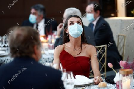 Spain's Queen Letizia wears a face mask as she and her husband chair the Mariano de Cavia, Luca de Tena and Mingote Awards gala in Madrid, Spain, 13 July 2020. Writers and journalists Maruja Torres and Arturo Perez-Reverte and photographer Dani Duch will be awarded during the ceremony.