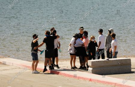 """Editorial picture of Cast members from the show """"Glee"""" and friends gathered Monday morning at the boat launch as Ventura County Sheriff's Search and Rescue dive team located a body Monday morning in Lake Piru as the search continued for actress Naya Rivera after her 4-year-old"""