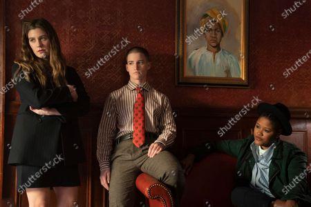 Laura Dreyfuss as McAfee Westbrook, Theo Germaine as James Sullivan and Rahne Jones as Skye Leighton