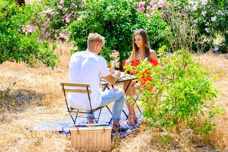 Stock Picture of Millie Fuller and Mark O'Dare go on a date