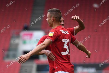 Ashton Gate Stadium, Bristol, England; Filip Benkovic celebrates scoring with Zak Vyner of Bristol City in 45th minute 1; English Football League Championship Football, Bristol City versus Stoke City.