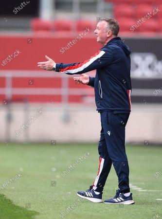 Ashton Gate Stadium, Bristol, England; Michael O'Neill Manager of Stoke City looks on frustrated; English Football League Championship Football, Bristol City versus Stoke City.