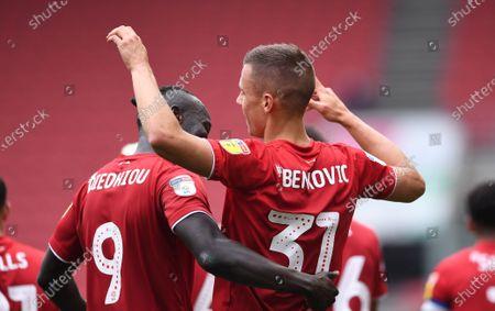 Ashton Gate Stadium, Bristol, England; Filip Benkovic of Bristol City celebrates with Famara Diedhiou after scoring in 45th minute 1; English Football League Championship Football, Bristol City versus Stoke City.