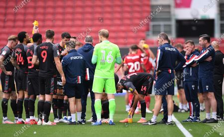 Ashton Gate Stadium, Bristol, England; Michael O'Neill Manager of Stoke City offers advice to his team during a water break; English Football League Championship Football, Bristol City versus Stoke City.
