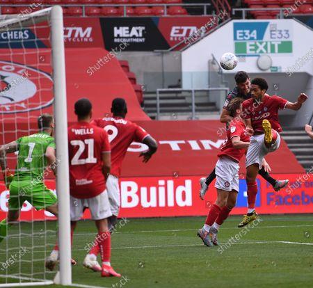 Ashton Gate Stadium, Bristol, England; Danny Batth of Stoke City gets his header at goal under pressue; English Football League Championship Football, Bristol City versus Stoke City.