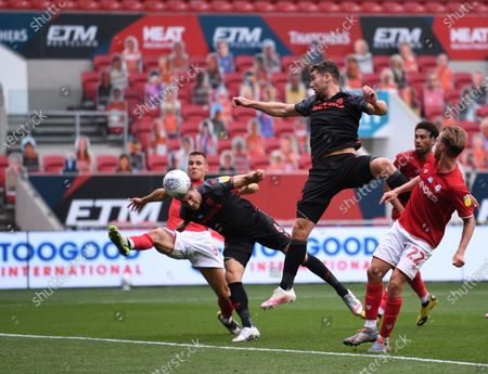 Ashton Gate Stadium, Bristol, England; Danny Batth of Stoke City heads home a goal under pressure from Filip Benkovic of Bristol City in 62nd minute for 1; English Football League Championship Football, Bristol City versus Stoke City.