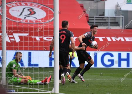 Ashton Gate Stadium, Bristol, England; Danny Batth and Sam Vokes of Stoke City celebrate their goal in the 62nd minute for 1; English Football League Championship Football, Bristol City versus Stoke City.
