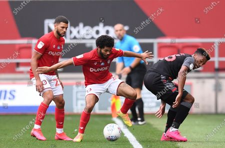 Ashton Gate Stadium, Bristol, England; Tyrese Campbell of Stoke City competes for the ball with Jay Dasilva of Bristol City; English Football League Championship Football, Bristol City versus Stoke City.
