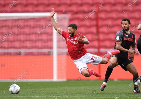 Ashton Gate Stadium, Bristol, England; Nahki Wells of Bristol City is fouled; English Football League Championship Football, Bristol City versus Stoke City.