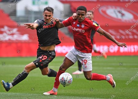 Ashton Gate Stadium, Bristol, England; Lee Gregory of Stoke City competes for the ball with Niclas Eliasson of Bristol City; English Football League Championship Football, Bristol City versus Stoke City.