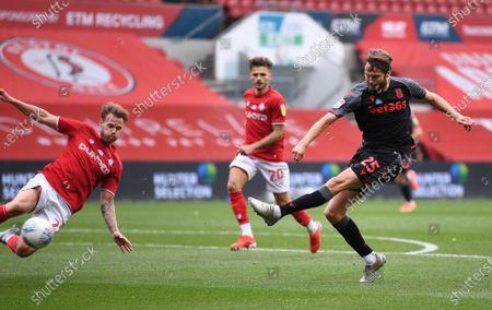Ashton Gate Stadium, Bristol, England; the shot from Nick Powell of Stoke City is blocked by Tomas Kalas of Bristol City; English Football League Championship Football, Bristol City versus Stoke City.