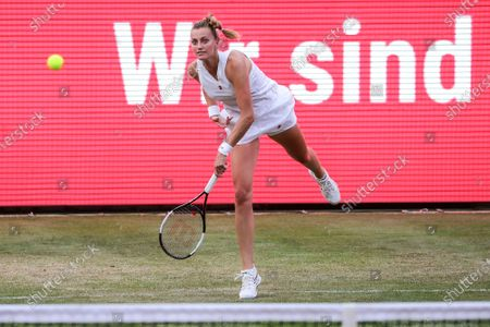 Petra Kvitova of the Czech Republic in action against Kiki Bertens of the Netherlands during their semifinal match at the bett1ACES tennis tournament held at the Steffi-Graf-Stadium in Berlin, Germany, 14 July 2020. The tournament will be held under strict hygiene restrictions made to cope with the spread of the Coronavirus SARS-CoV-2 which causes the COVID-19 disease.